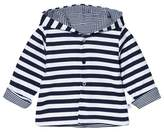 Absorba White and Navy Reversible Stripe Hooded Jacket