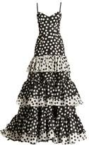Carolina Herrera Polka Dot Tiered Mermaid Gown