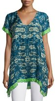 Johnny Was Puente V-Neck Printed Tunic W/Contrast Trim, Multi, Petite