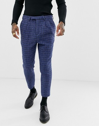 Twisted Tailor Harris tweed suit pants in cropped taper fit