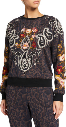 Johnny Was Wendy Animal Print Embroidered Raglan Sweatshirt