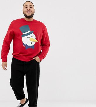 Jack and Jones Originals snowman christmas sweat in red