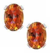 Gem Stone King 2.00 Ct Oval 7X5mm Azotic Ecstacy Topaz 925 Sterling Silver Earrings