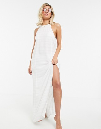 Tavik maxi beach dress in white stripe