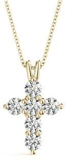 14KT 0.75 CT Six-Stone Round Cut Diamond Cross Pendant Necklace Amcor Design