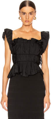 Brock Collection Pioppo Ruffle Top in Black | FWRD