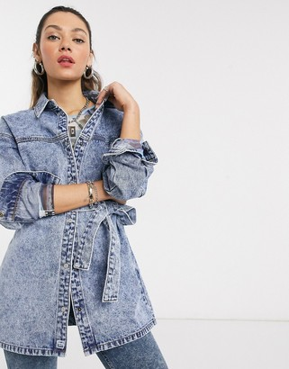 Noisy May denim shacket with belted waist in blue acid wash