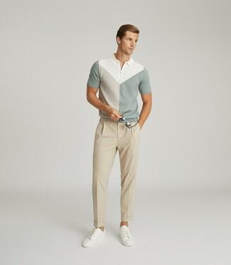 Reiss Butler - Colour Block Zip Neck Polo Shirt in Sage