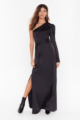 The One Nasty GalNasty Gal Womens You Could Be Shoulder Satin Maxi Dress - Black - 6, Black