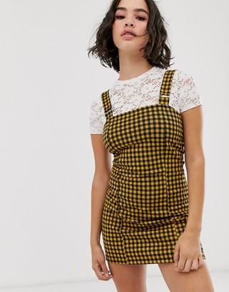 Bershka cami mini dress in mustard-Yellow