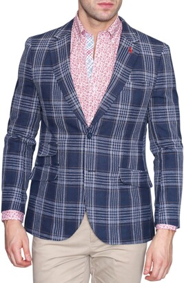 Tailorbyrd Navy Plaid Two Button Notch Lapel Modern Fit Sport Coat
