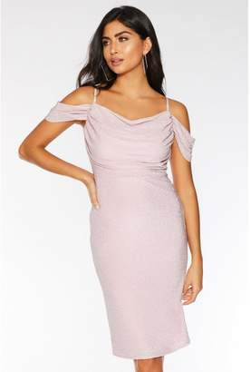 Quiz Rose Pink Cold Shoulder Midi Dress