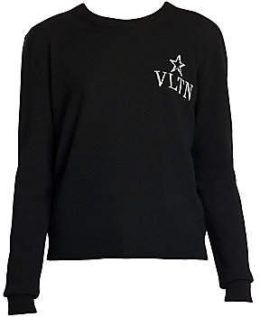 Valentino Women's VLTN Virgin Wool & Cashmere Crewneck Sweater