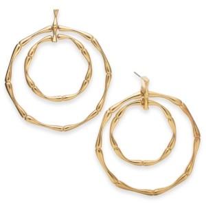 Thalia Sodi Gold-Tone Bamboo Double Doorknocker Drop Hoop Earrings, Created for Macy's