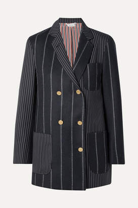 Thom Browne Double-breasted Paneled Pinstriped Wool-felt And Twill Blazer - Midnight blue