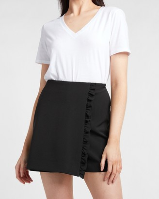 Express High Waisted Stretchy Ruffle Wrap Skort