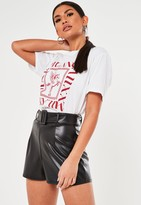Missguided Black Faux Leather Belted Shorts