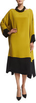 eskandar Bateau-Neck Colorblock Tunic Dress, Black/Dark Olive Oil