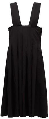 Comme des Garçons Comme des Garçons Raw-edge Pleated Pinafore Dress - Black