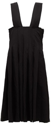 Comme des Garcons Raw-edge Pleated Pinafore Dress - Womens - Black