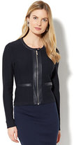 New York & Co. 7th Avenue Jacket - Faux-Leather Trim Knit