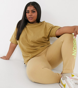 Collusion Plus exclusive colour oversized t-shirt in camel
