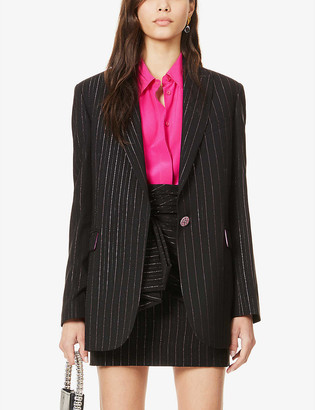 Redemption Padded-shoulder striped woven blazer