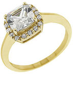 Lord & Taylor Square Cubic Zirconia Ring with Pav Frame