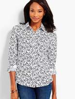 Talbots Classic Button-Front Shirt - Swirly Bows