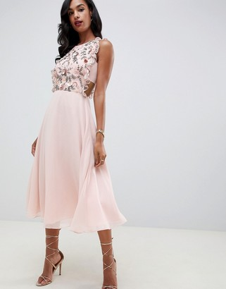 ASOS DESIGN midi dress with pinny bodice in 3D floral embellishment