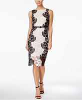 Jax Belted Contrast Lace Midi Sheath Dress