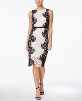 Jax Belted Contrast Lace Midi Sheath Dress
