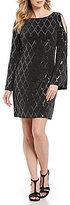 Jessica Howard Cold-Shoulder Metallic Sequin Sheath Dress