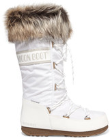 Moon Boot Monaco Faux Fur-trimmed Shell-piqué And Faux Leather Snow Boots - White