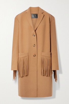 R13 - Fringed Wool-blend Felt Coat - Brown