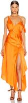 Jonathan Simkhai Asymmetric Drape Gown in Tangerine | FWRD