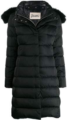 Herno detacahable fox fur hooded padded coat