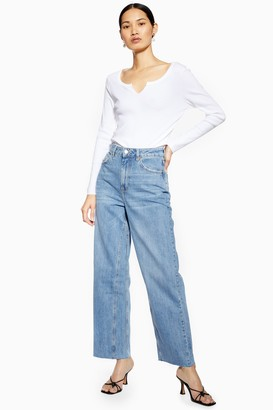 Topshop Womens Tall Mid Blue Cropped Wide Leg Jeans - Mid Stone