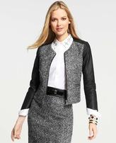 Ann Taylor Faux Leather Sleeve Tweed Jacket