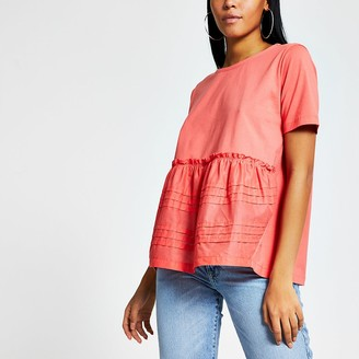 River Island Coral poplin pleated smock T-shirt