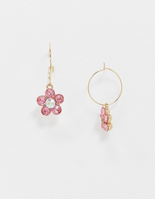 ASOS DESIGN hoop earrings with crystal flower charm in gold tone