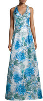 Theia Sleeveless Floral-Print Ball Gown