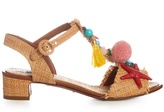 Dolce & Gabbana Pompom and shell-embellished raffia sandals