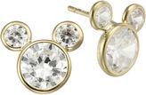Disney Girls Mickey Mouse 10K Gold Cubic Zirconia Stud Earrings