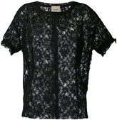 Nude short sleeve lace top