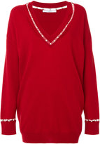 Givenchy V-neck sweater with pearl trim - women - Silk/Cotton/Cashmere/Wool - XS