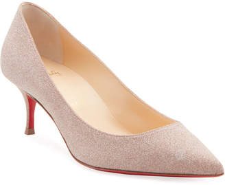 Christian Louboutin Kate Glitter Kitten-Heel Red Sole Pumps
