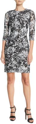 Naeem Khan Linda High-Neck 3/4-Sleeve Fitted Lace Cocktail Dress
