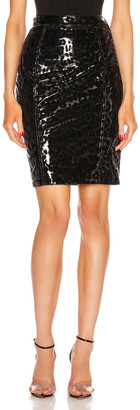 Thierry Mugler Leopard Vinyl Skirt in Black | FWRD