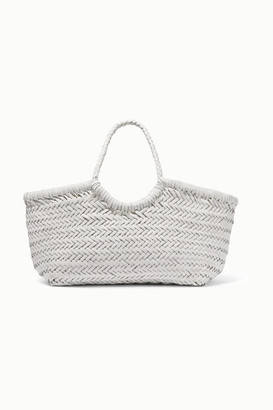 Dragon Optical Diffusion - Nantucket Small Woven Leather Tote - White
